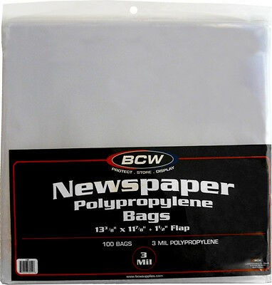 """(100) BCW-NB Newspaper Bags Covers Outer Sleeves 13 3/8"""" x 11 7/8"""" Store Display"""