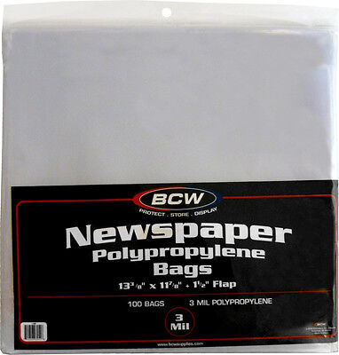 "(100) BCW NB Newspaper Bags Covers Outer Sleeves 13-3/8"" x 11-7/8"" Storage"