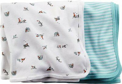 Carter's Newborn Boy 2 Pack Cotton Swaddle Blankets NWT Dog House Stripes - NEW