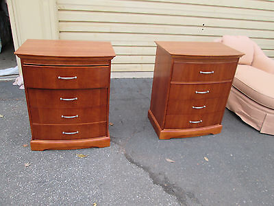 54787  Pair Meridian Intl Fusion Bow Front Cherry Nightstands