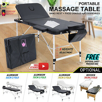 Massage Table Portable Aluminium/Wooden  2/3 Fold Bed Therapy Waxing 55/70/75cm