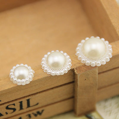 New 50pcs Pearl Beige White Flower DIY Stick Beads Craft Jewelry Making Button