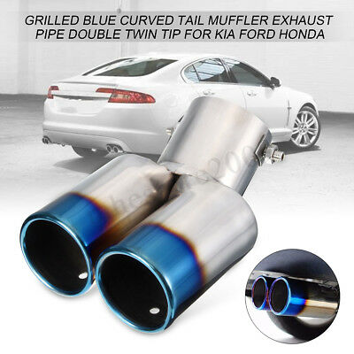 Double Twin Grilled Blue Curved Tail Muffler Exhaust Pipe Tip For KIA Ford Honda