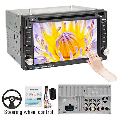 """Double 2DIN 6.2"""" Car Stereo DVD Player Bluetooth USB/SD/FM Touch Head Unit Radio"""