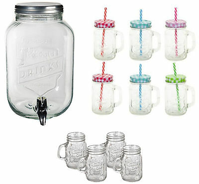 3.5Lt Glass Drink Beverage Dispenser Jar Set of 6 Drinking Cocktail Jars shot