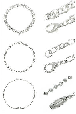 12 Pcs - Silver Plated Link Bracelet 's With Lobster Clasps Jewellery Craft ML