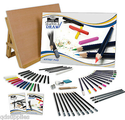 A3 Art Work Station Drawing Board Easel & 57 Artist Sketching Media Pieces Lt102