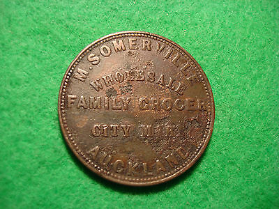 New Zealand 1857 Penny Token coin M. Somerville Auckland C039