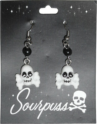 60107 Skull & Crossbones Drop Charm Earrings Sourpuss Bones Skeleton Pirate Punk
