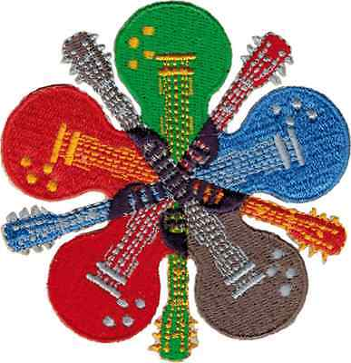 58023 5 Crossing Colorful Electric Guitars Music Instrument Rock Iron On Patch