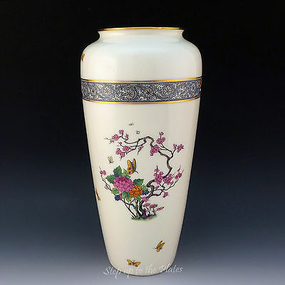 """Lenox China 10"""" Tall MING Cylindrical Vase Vintage Black Stamp Beautiful Cond."""