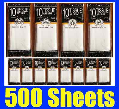 500 Sheets Premium Pure White Tissue Paper Retail Gift Wrap Wrapping 750x500mm