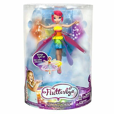 Deluxe Light Up Flutterbye Fairy - Rainbow - Magically Flies - Flying Doll Toy