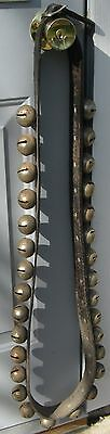 Antique Leather Strap Of 30 Large Sleigh Bells Complete & Buckles Great Sounding