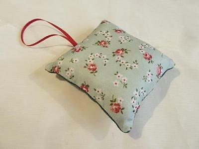 HANDMADE DECORATIVE PADDED PIN CUSHION - ROSES ON GREEN - 8.5cms x 8.5cms......9