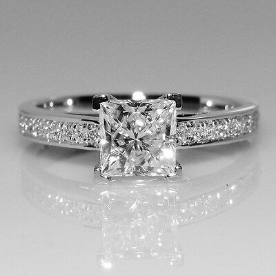 18k White Gold Filled with Silver 1.25 Carat Bridal Engagement Wedding Ring R174