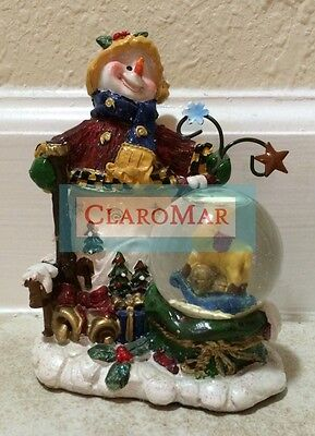 ☀ Vintage Snowman w/Camel Christmas Snow Water Globe Winter Collectible Holiday