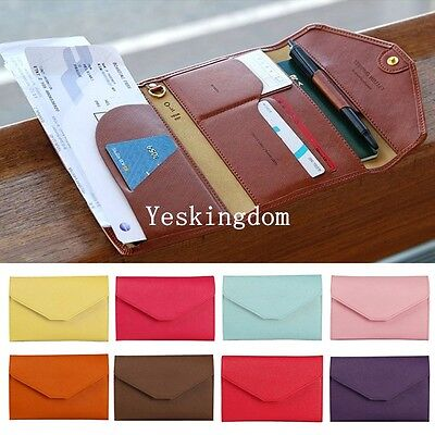 PU Leather Ticket Protector Case Travel Passport Holder Document Bag Wallet Hot