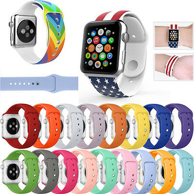 Replacement Sports Silicone Strap Watch Band Bracelet For Apple Watch 38mm/42mm