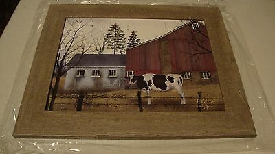 SALE /Country large HOLSTEIN cow scene wall print in wood frame / BILLY JACOBS