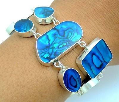 Natural Blue Paua Abalone Shell 925 Sterling Silver Chain Bracelet Jewelry SA057