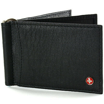 Alpine Swiss RFID Blocking Men's Money Clip Deluxe Spring Loaded Leather Wallet