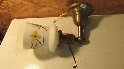 Antique Brass Wall Light & Hand Painted Shade  No. 5