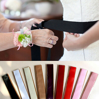 Women SATIN Ribbon Fancy Dress Party Wedding SASH Waist Band Tie Belt Bow Tie