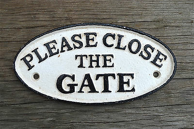 Cast iron vintage style PLEASE CLOSE THE GATE sign plaque garden gate door PP8