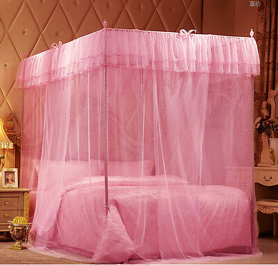 Pink Princess 4 Corner Post Bedding Canopy Mosquito King Double Sizes Netting