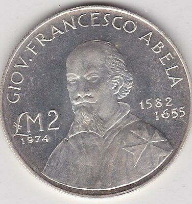 1974 Malta Abela Two Pound Silver Coin In Mint Condition