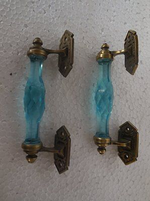 2 Pc Rare Vintage Blue Cut Glass & Brass Victorian Door Handles , Collectible