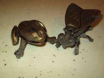 Lot Of 2 Vintage Estate Brass Bronze Metal Frog & Fly Hidden Trinket Boxes