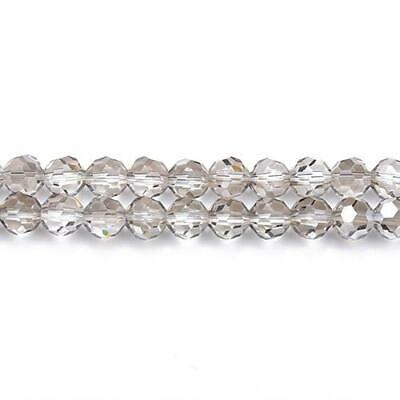 Strand 70+  Grey Czech Crystal Glass 8mm Faceted Round Beads GC3546-3