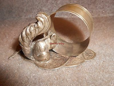 Vintage Squirrel and Leaf Silver Plated Napkin Ring Holder