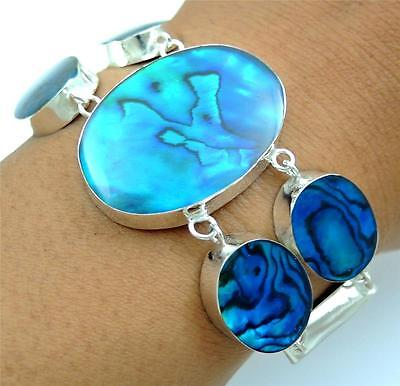 Natural Blue Paua Abalone Shell 925 Sterling Silver Bracelet Women Jewelry SD118