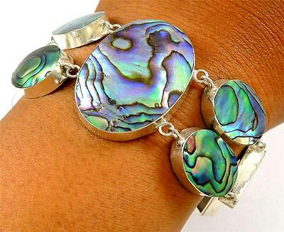 Natural Paua Abalone Shell 925 Sterling Statement Silver Bracelet Jewelry SD121