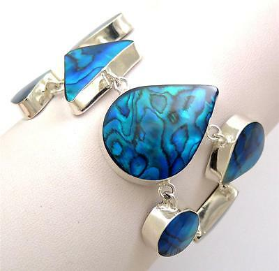 Natural Blue Paua Abalone Shell 925 Sterling Silver Chain Bracelet Jewelry SE061