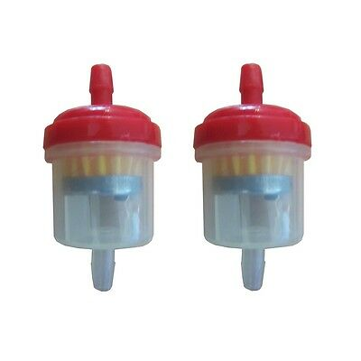 Universal Motorcycle Scooter Inline 6mm Magnetic Clear Fuel Filter Red x2