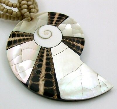 Mother of Pearl Cone Shell Shiva Eye Pendant Beads Necklace Women Jewelry EA261