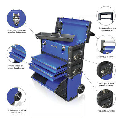 316 US PRO Tools Blue Mobile Roller Chest Trolley Cart cabinet 3 IN 1 Tool Box