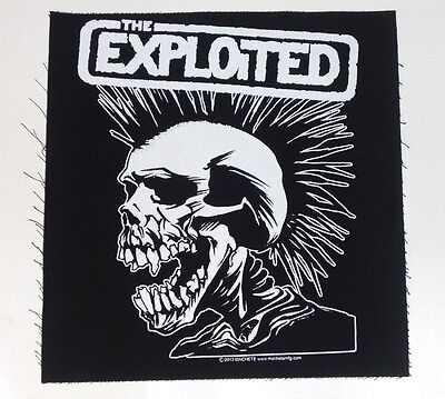 "THE EXPLOITED white skull/mohawk BACK PATCH 12"" sew on jacket -let's start a war"