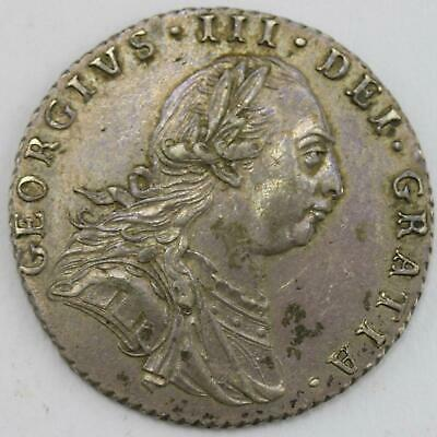 1787 George III .925 Sterling Silver 6d Sixpence No Hearts Lot B