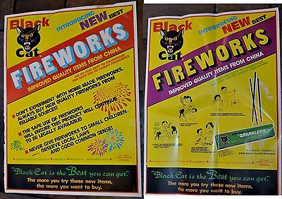 "2 RARE Vintage Li & Fung BLACK CAT Firecrackers POSTER 17x23"" fireworks kitty"