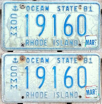 Rhode Island 1981 - 1992 COMMERCIAL TRUCK license plate pair 19160!