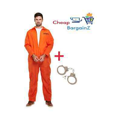 MENS PRISONER OVERALL ORANGE JUMPSUIT CONVICT STAG DO PARTY FANCY DRESS COS lot