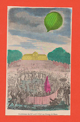 Lot Of 6 Antique Hot Air Balloon Hand Colored French Book Prints 1880 Matted