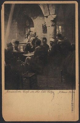 Palestine 1927  Photo Card Of A Cafe W/ Men Smoking Hubbly Bubbly & Playing