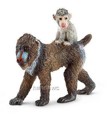 Schleich 14716 Mandrill Female with Baby Monkey Toy Model Animal - NIP
