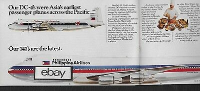 Philippine Airlines 1980 2 Pg Dc-4's Asia's Earliest & 747 The Latest Ad